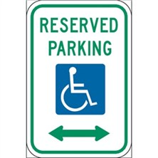 Reserved Parking (Handicap Symbol, Left and Right Arrow)
