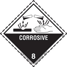 Worded Dotted Border Corrosive Labels
