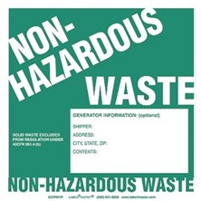Non-Hazardous Waste Labels With Generator Info, Unruled