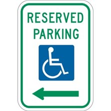 Reserved Parking (With Handicap Symbol, Left Arrow)