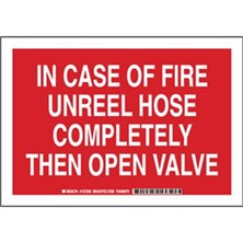 In Case Of Fire Unreel Hose Completely Then Open Valve Signs