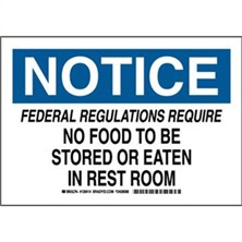 Notice - Federal Regulations Require No Food To Be Stored Or Eaten In Rest Room Signs