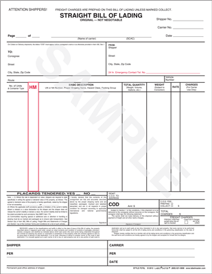 Straight Bill of Lading Form