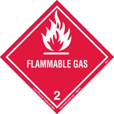DOT Hazard Class 2, Flammable Gas Label