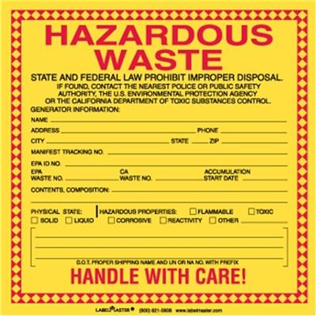 california waste labels - Hazardous Waste Labels