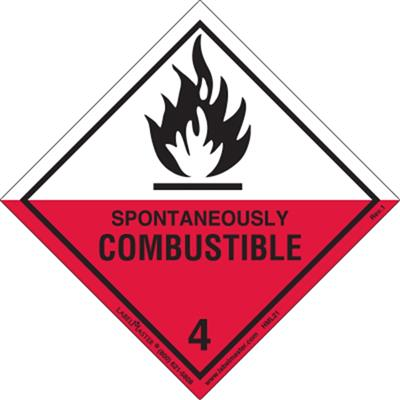 DOT Hazard Class 4, Spontaneously Combustible Label