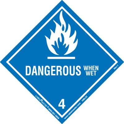 DOT Hazard Class 4, Dangerous When Wet Label