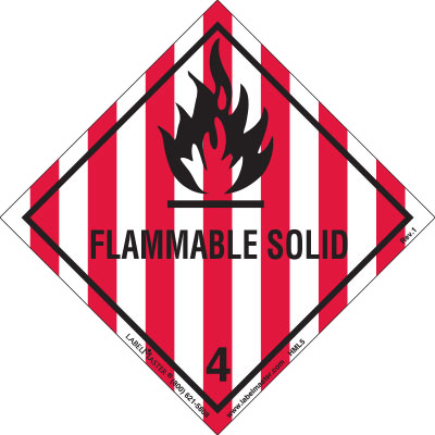DOT Hazard Class 4, Flammable Solid Label