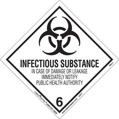DOT Hazard Class 6, Infectious Substances Label
