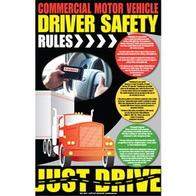 Commercial motor vehicle driver safety rules poster 14 x Motor vehicle safety