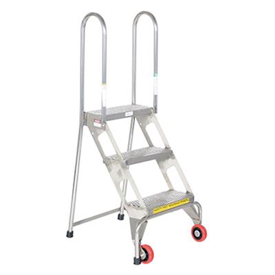 Folding Step Ladder With Wheels 3 Steps Stainless Steel
