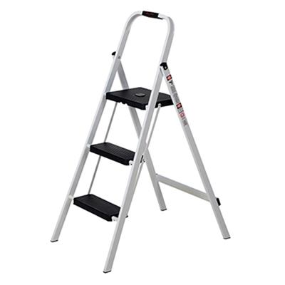 Industrial Fold Up Steel Step Stool 3 Steps White
