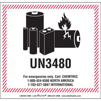 photo regarding Printable Lithium Ion Battery Label called CHEMTREC UN3480 Lithium Battery Managing Marking, 120mm x 110mm, Paper