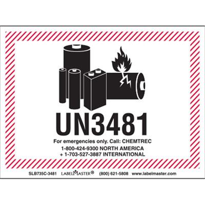 picture about Printable Lithium Ion Battery Label named CHEMTREC UN3481 Lithium Battery Taking care of Marking, 105mm x 74mm, PVC-No cost Movie