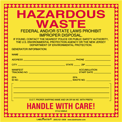 New Jersey Waste Label, Stock PVC-Free Film