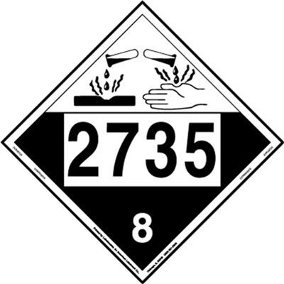 Corrosive Placard Un 2735 Removable Vinyl Pack Of 25